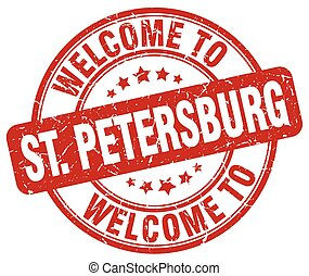 welcome to St Petersburg red round vintage stamp