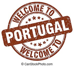 welcome to Portugal brown round vintage stamp