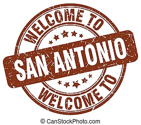 welcome to San Antonio brown round vintage stamp