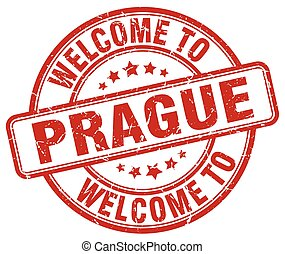 welcome to Prague red round vintage stamp