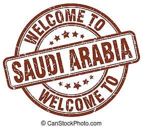 welcome to Saudi Arabia brown round vintage stamp