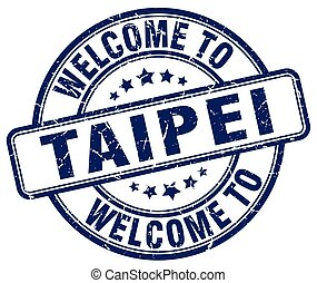welcome to Taipei blue round vintage stamp