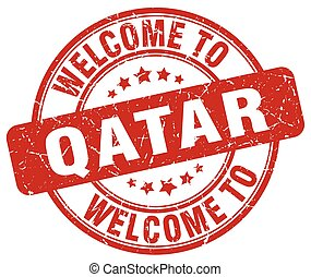 welcome to Qatar red round vintage stamp