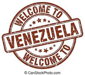 welcome to Venezuela brown round vintage stamp