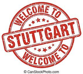 welcome to Stuttgart red round vintage stamp