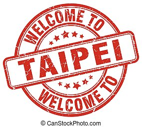 welcome to Taipei red round vintage stamp