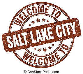 welcome to Salt Lake City brown round vintage stamp