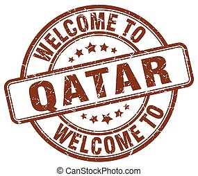 welcome to Qatar brown round vintage stamp
