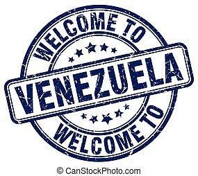 welcome to Venezuela blue round vintage stamp