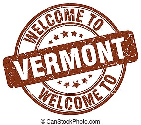 welcome to Vermont brown round vintage stamp