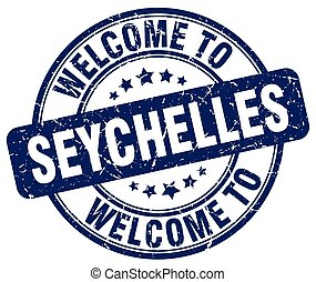 welcome to Seychelles blue round vintage stamp