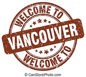 welcome to Vancouver brown round vintage stamp