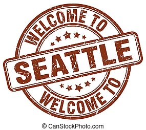 welcome to Seattle brown round vintage stamp