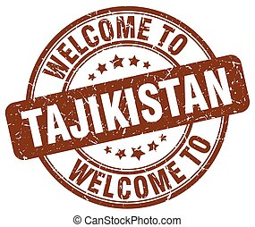 welcome to Tajikistan brown round vintage stamp