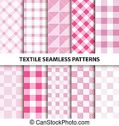 Set of textile seamless patterns.