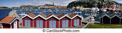 Yachts in a marina at the Swedish fishing village Fjällbacka on the west coast