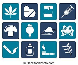 Flat Different kind of drug icons - vector icon set