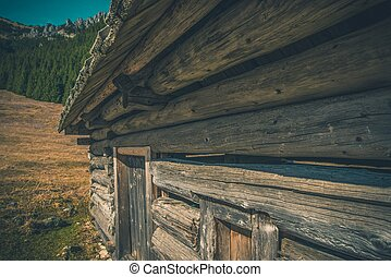 Aged Mountain Cabin. Old Mountain Chalet. Chocholowska...