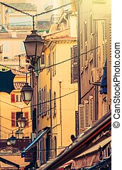 French Riviera Cannes Vintage Narrow Architecture Cannes,...