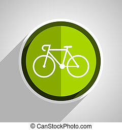 bicycle icon, green circle flat design internet button, web...