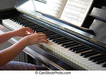 女孩, 鋼琴, 玩
