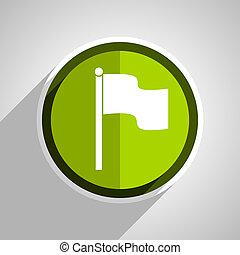 bandera, icono, verde, círculo, plano, diseño,...
