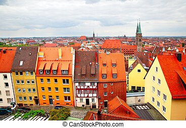Altstadt in Nuremberg - Panoramic view of Altstadt in...