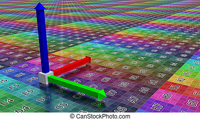 3d coordinate axis background, illustration of technology...
