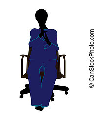 African American Woman Pajama Silhouette