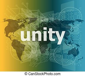 unity text on digital touch screen - business conceptvector quotation marks with thin line speech bubble. concept of citation, info, testimonials, notice, textbox