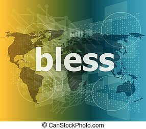 bless text on digital touch screen - business conceptvector quotation marks with thin line speech bubble. concept of citation, info, testimonials, notice, textbox. flat style