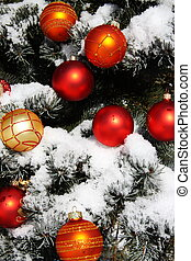 Natural Christmas tree and baubles