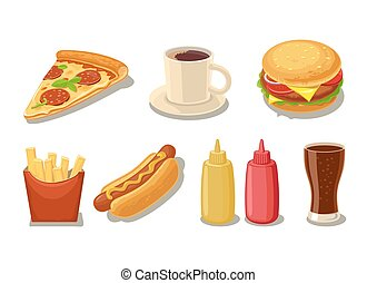 Set fast food icon. Glass of cola, hamburger, pizza, hotdog,...