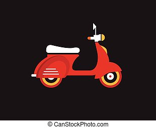 Red retro vintage delivery motor bike icon isolated on dark...