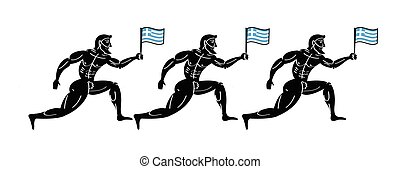 Ancient greek athletic runners with national flag of Greece