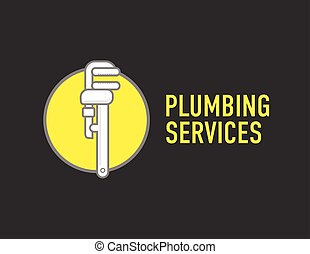 Plumbing repair wrench line flat icon. Logo concept for plumbers.