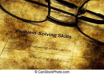Problem solving skills grunge concept