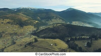 4k Aerial View of Carpathian Village - Camera Flies Over the...