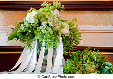 beautiful wedding bouquet with white flowers and roses