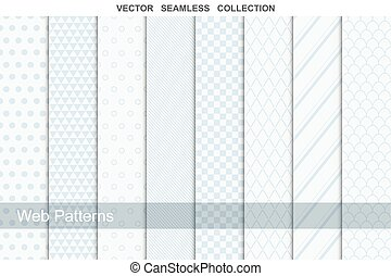 Geometric seamless patterns in soft colors.