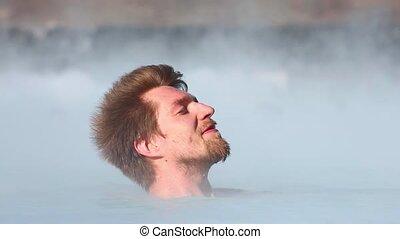 termisk, slå samman, med, varm, Vatten,