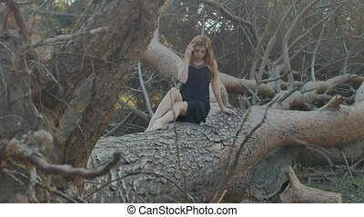 girl sitting on a fallen tree - blonde girl in a long black...
