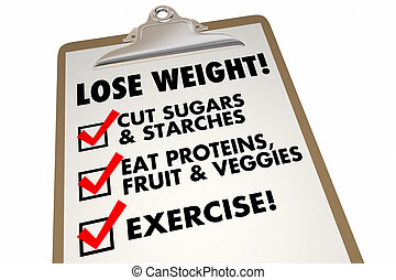 Lose Weight Checklist Clipboard Eat Exercise Words 3d...