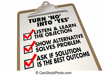 Turn No Into Yes Overcome Objection Checklist 3d...