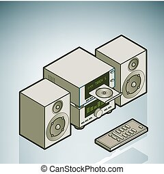 Mini HiFi (part of the Home Utensils Isometric 3D Icons Set)