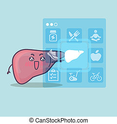 cute cartoon liver touch icon, great for Health care concept...
