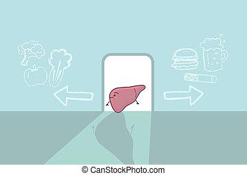health liver care concept - cute cartoon liver think...