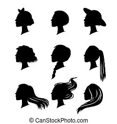 woman silhouette with hair styling - set of woman silhouette...
