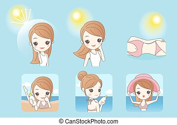 cartoon woman with sunshine