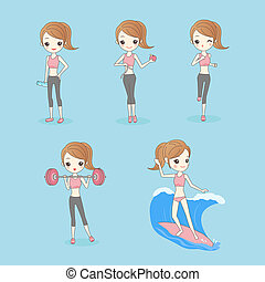 Cartoon Sport Woman with health figure, great for your...
